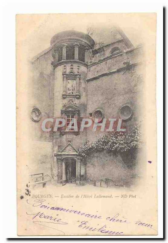 Bourges Old Postcard Staircase of & # 39hotel Lallemand