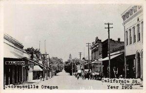 LPS83 Jacksonville Oregon California Street Town View Saloon Postcard RPPC