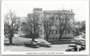 Hamilton, Texas Postcard HAMILTON COUNTY COURT HOUSE Street View c1950s Unused