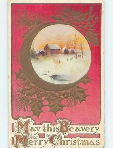 Pre-Linen christmas WINTER SCENE SURROUNDED BY GOLDEN HOLLY LEAVES ho3813