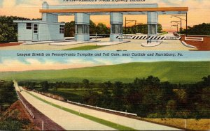 Pennsylvania Turnpike Longest Stretch and Toll Gate Near Carlisle and Harrisb...