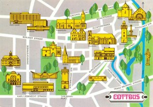 Vintage 1976 COTTBUS East Germany, Street, Map Buildings Postcard ES2