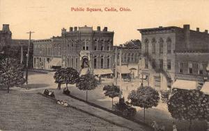 Cadiz Ohio Public Square Antique Postcard J46179