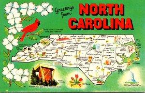 North Carolina Greetings With Map