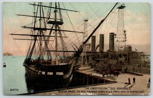 Boston Massachusetts~USS Constitution Chained~Furled Sails on Old Ironsides~1913