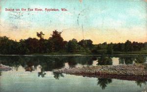 Appleton, Wisconsin, WI, Scene on the Fox River, 1908 Vintage Postcard f8034