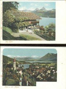 pc8833 postcard Switzerland Thun TWO not postally used