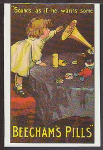 Beecham's Pills Trade Card Reproduction Postcard BIN