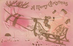 Santa Claus Greetings -Sleigh and Deer over Church Merry Christmas pm 1908 - DB
