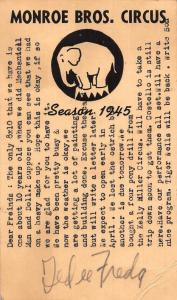Monroe Bros. Circus Season 1945 Advert Postcard