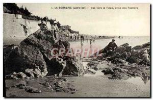 Old Postcard La Bernerie View Towards The Beach Taking Des Rochers
