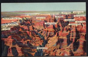 Arizona GRAND CANYON Air View with Names of the Peaks - pm1951 - LINEN