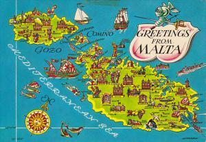 Map and Greetings From Malta