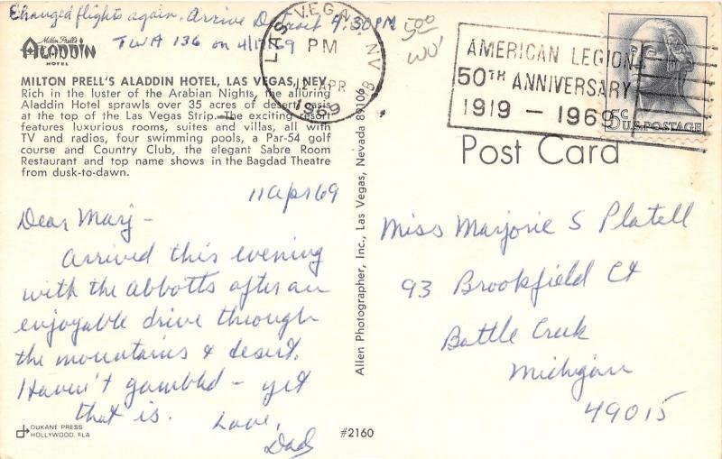 Las Vegas Nevada~Milton Prell's Aladdin Hotel~Golf Course & Country Club~1969 Pc