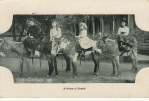 4 girls on donkeys , A String of Pearls , Colorado , 1914