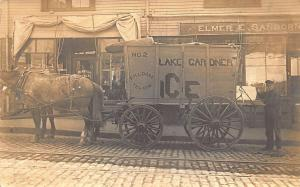 1910 Amesbury MA Lake Gardner Horse & Ice Wagon Message Real Photo Postcard