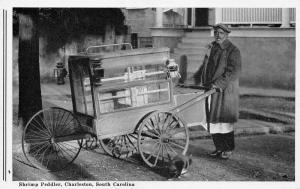 Charleston SC~Black Americana~Shrimp Peddler Pushes Cart~Lanterns~Cat~1940s B&W