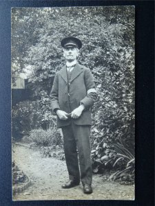 Portrait of UNIFORMED GENT with Stripped DUTY BAND on Left Arm c1910 RP Postcard