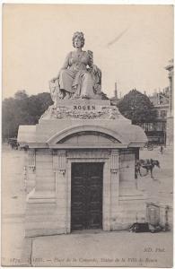 France, PARIS, Place de la Concorde, Statue de la Ville de Rouen, Postcard