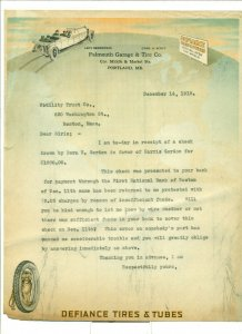 1918 Falmouth Garage & Tire Co. to Fidelity Trust Co. 12/14/18 Letter Head LH1.