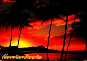 Hawaii Waikiki Beach Sunrise Over Diamond Head 1996