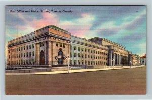 Toronto ON-Ontario Canada, Post Office, Union Station, Linen Postcard
