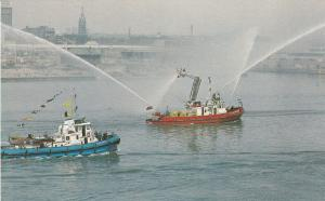 Toronto Harbour Fire Boat Fleet in action , Ontario , Canada , 50-60s