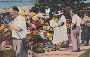 Jamaica Visitors At Hat and Basket Market 1958
