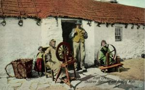ireland, Irish Life, Children Spinning and Reeling Wool (1910s)
