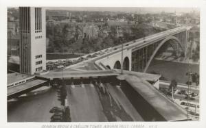 RP: NIAGARA FALLS , Ontario , Canada , 1930-40s ; Rainbow Bridge & Carillon Towe