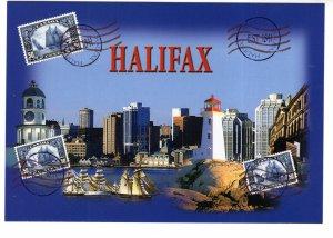 Large 5 X 7 inch, Bluenose Stamps on Postcard, Halifax, Peggy`s, Nova Scotia,