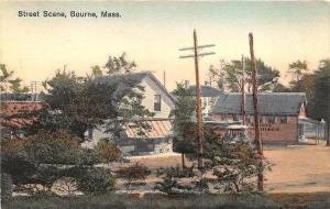 Bourne MA Street View General Store Trolley Postcard