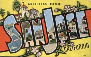 Greetings from San Jose CA, California - pm 1946 - Linen Large Letter