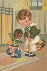 Jack in the box knocks down dolly while boy & puppy watch, 1900-10s