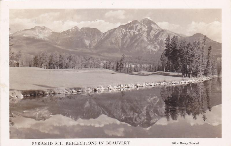 RP, Pyramid Mt. Reflections In Beauvert, Jasper National Park, Alberta, 20-40s