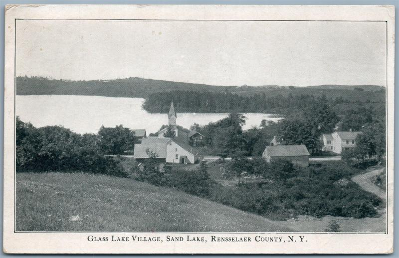 RENSSELAER COUNTY NY GLASS LAKE VILLAGE SAND LAKE ANTIQUE POSTCARD