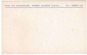 Postcard From the Headmaster, Darwen Grammar School