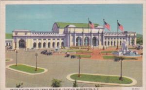 Union Railroad Station and Columbus Memorial Fountain Washington D C Curteich