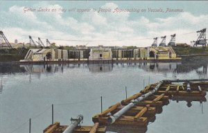 PANAMA, 1900-1910's; Gatun Locks As They Will Apper To People Approaching ON ...