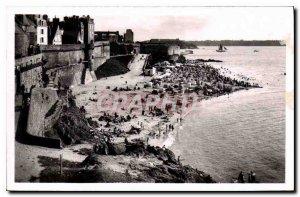 Old Postcard Saint Malo Bon Secours Beach at high tide