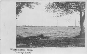 F36/ Worthington Minnesota RPPC Postcard c1910 Lake Okabena Sailboats