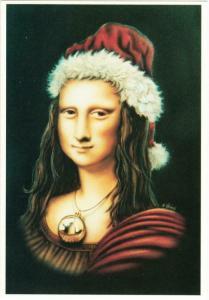 Mona Lisa as Santa Claus Christmas Altered Art Postcard #1
