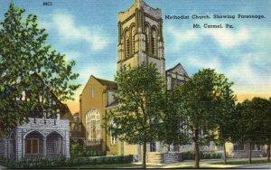 Pennsylvania Mt Carmel Methodist Church Showing Parsonage