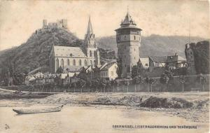 Oberwesel Germany Liebfrauen Church Exterior Waterfront Antique Postcard K22624