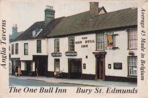 The One Bull Inn Bury St Edmunds Suffolk Pub Matchbox Label