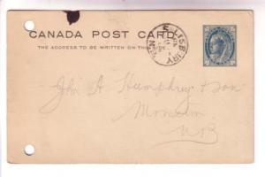 1901 CDS Cancel,  Salisbury New Brunswick, Victoria Postal Stationery Canada