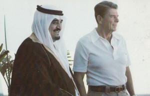 Ronald Reagan American President & Arab Saudi Arabia Crown Prince Fahd Postcard