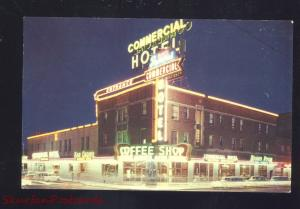 ELKO NEVADA COMMERCIAL HOTEL MONTE CARLO CASINO AT NIGHT VINTAGE POSTCARD