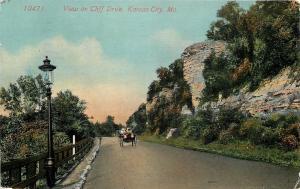 Kansas City Missouri~Model Car Family Takes in View on Cliff Drive~1910~Postcard
