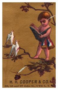 Child reading to Doves H.H.Cooper Utica New York  Victorian  Trade Card